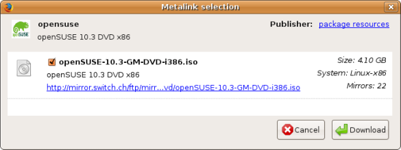 Metalink download with DownThemAll!